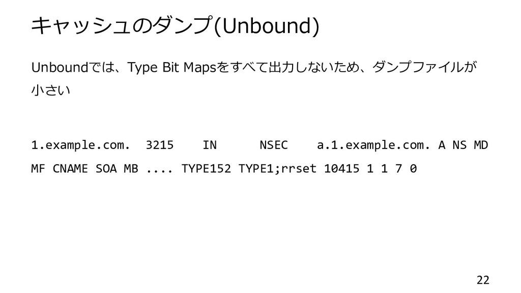 キャッシュのダンプ(Unbound) Unboundでは、Type Bit Mapsをすべて出...