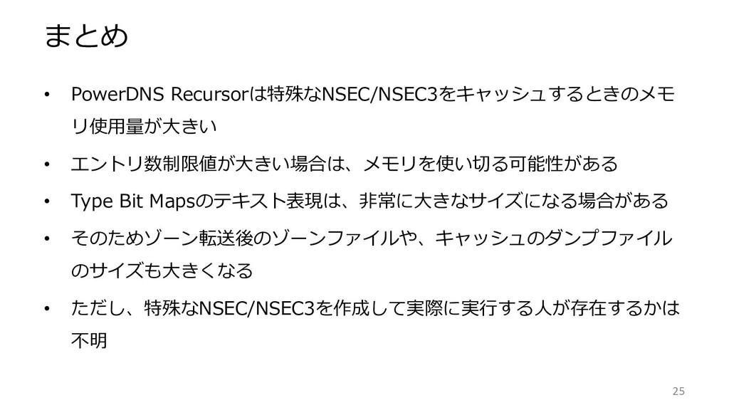 まとめ • PowerDNS Recursorは特殊なNSEC/NSEC3をキャッシュするとき...