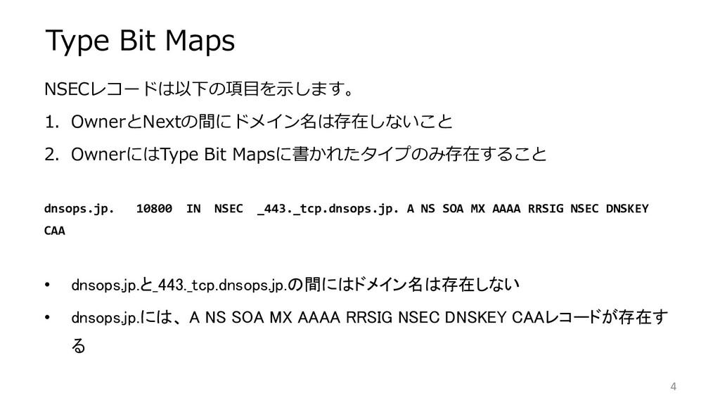 Type Bit Maps NSECレコードは以下の項目を示します。 1. OwnerとNex...