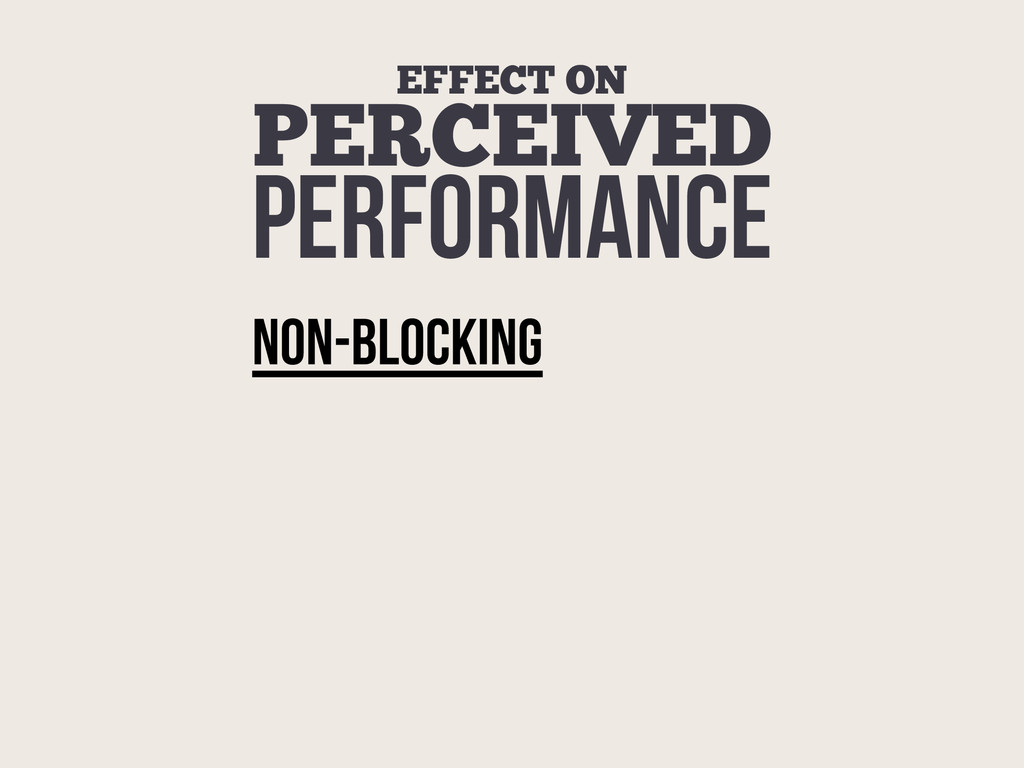 EFFECT ON PERCEIVED PERFORMANCE NON-BlockING