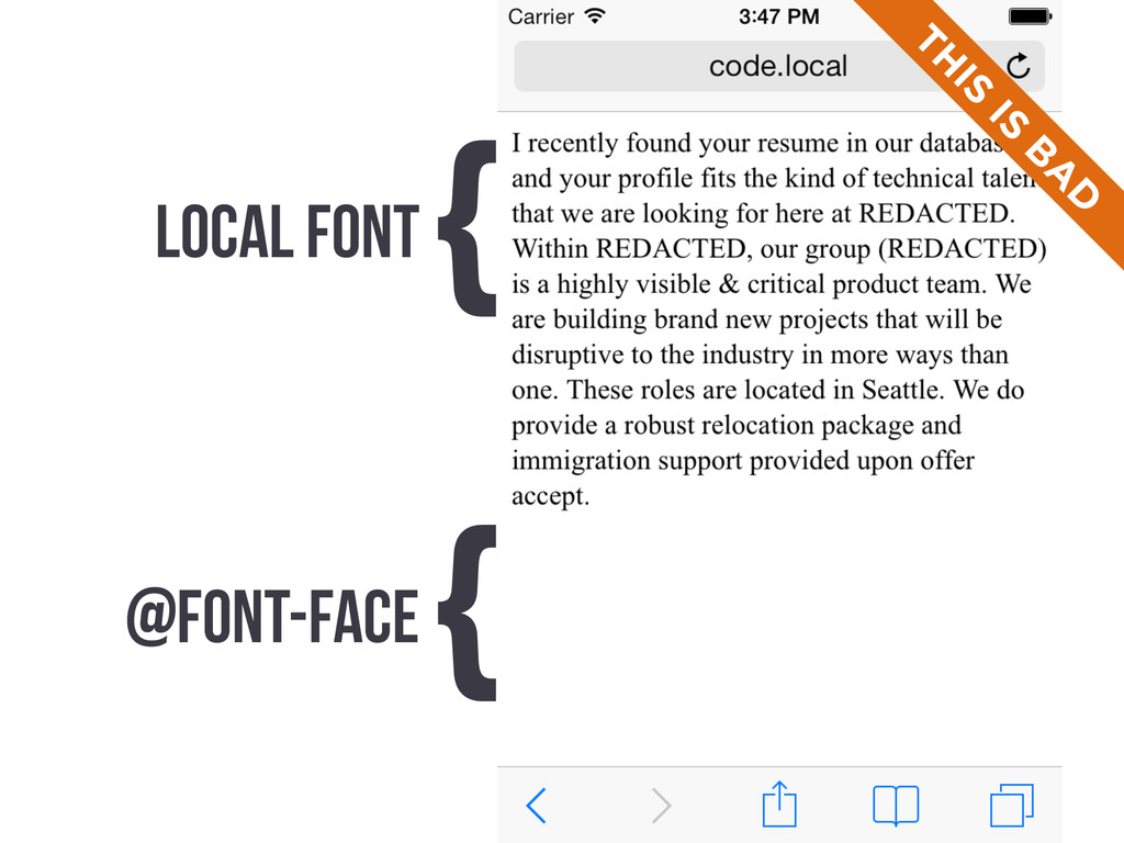 LOCAL FONT { @FONT-FACE { TH IS IS B A D