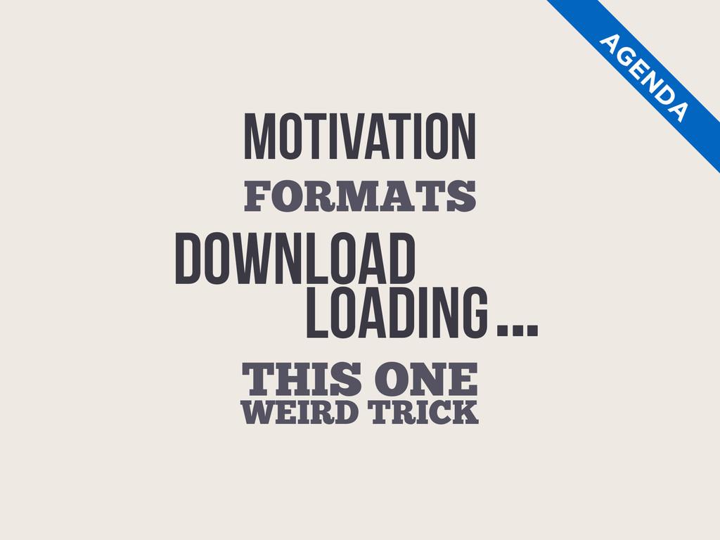 MOTIVATION THIS ONE WEIRD TRICK A G EN D A FORM...