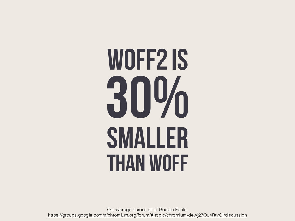 IS 30% SMALLER THAN WOFF On average across all ...