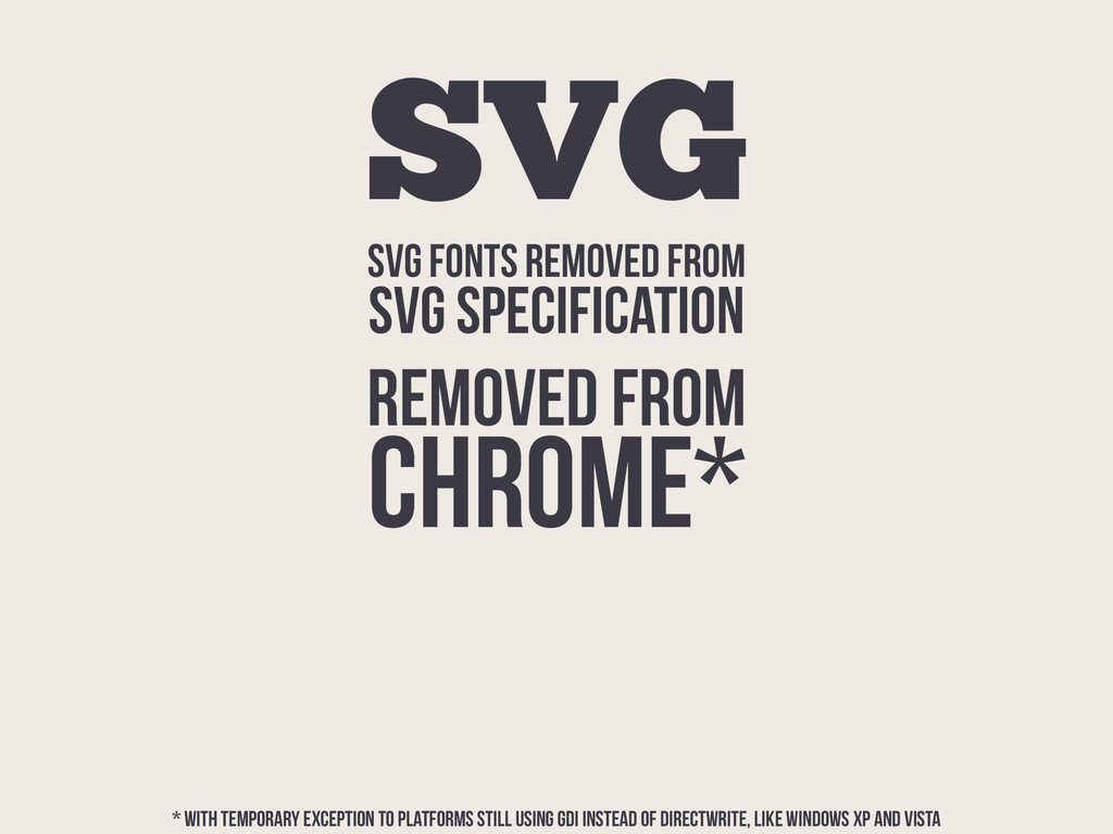 SVG FONTS REMOVED FROM SVG SPECIFICATION SVG RE...