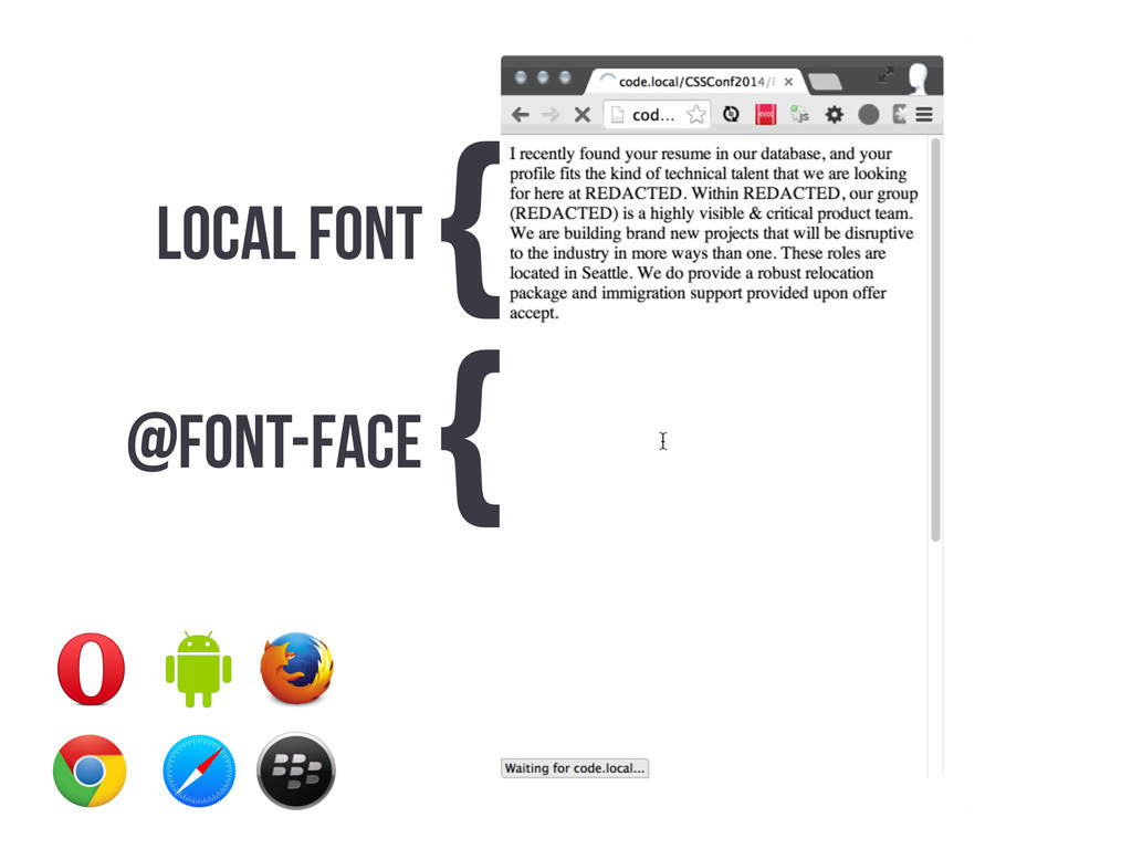 LOCAL FONT { @FONT-FACE {