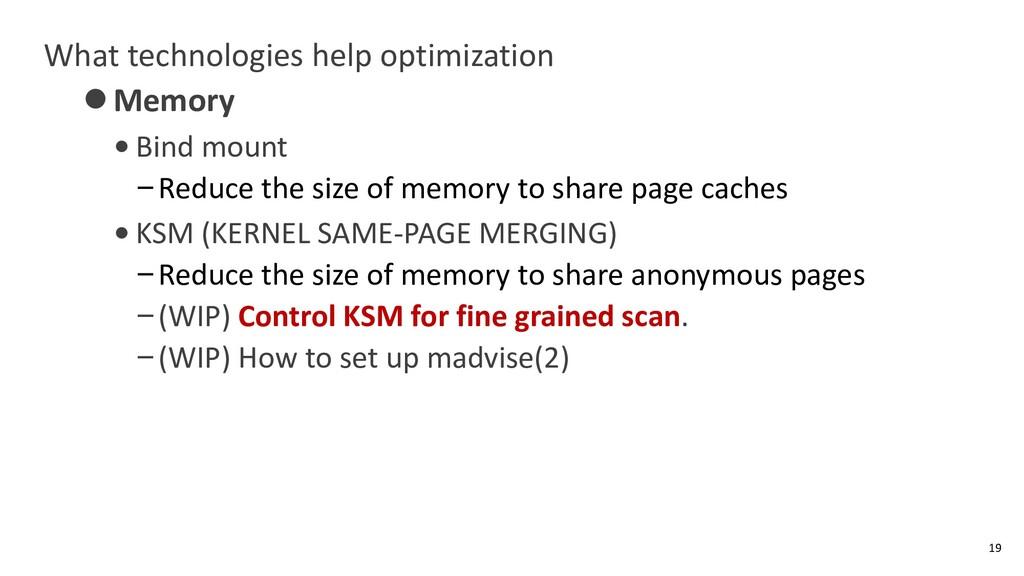What technologies help optimization ⚫Memory • B...