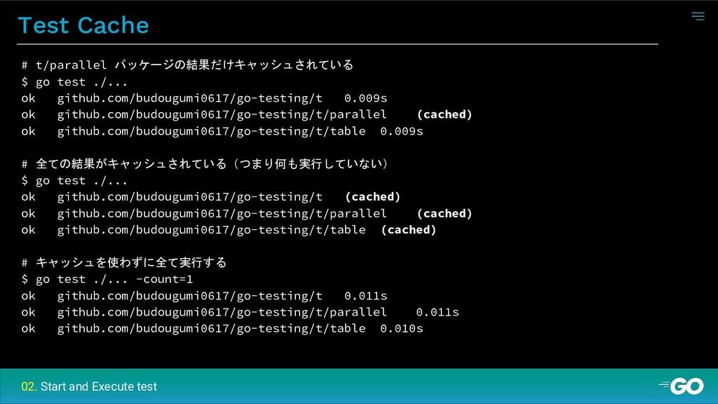 Test Cache # t/parallel パッケージの結果だけキャッシュされている $ ...