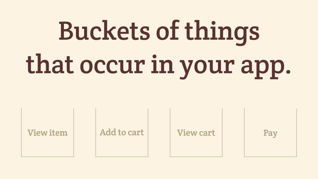 Buckets of things that occur in your app. Add t...