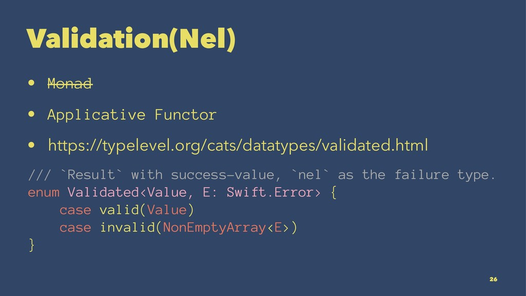 Validation(Nel) • Monad • Applicative Functor •...