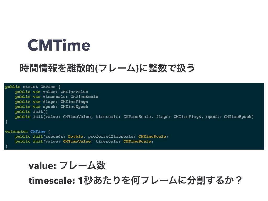 CMTime ؒใΛత(ϑϨʔϜ)ʹͰѻ͏ public struct CMTim...