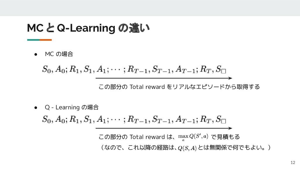 ● MC の場合 ● Q - Learning の場合 MC と Q-Learning の違い...