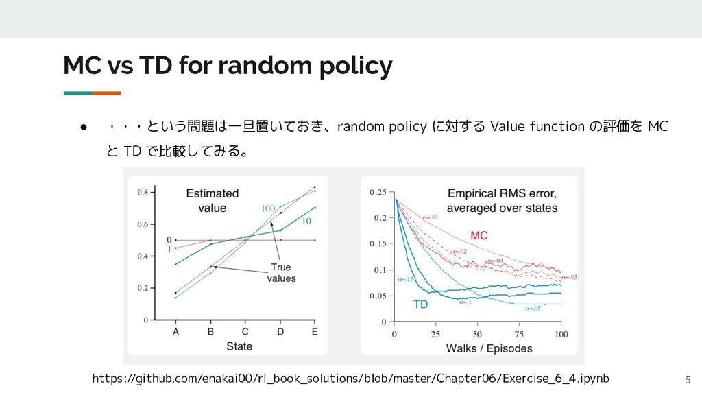 MC vs TD for random policy 5 ● ・・・という問題は一旦置いておき...