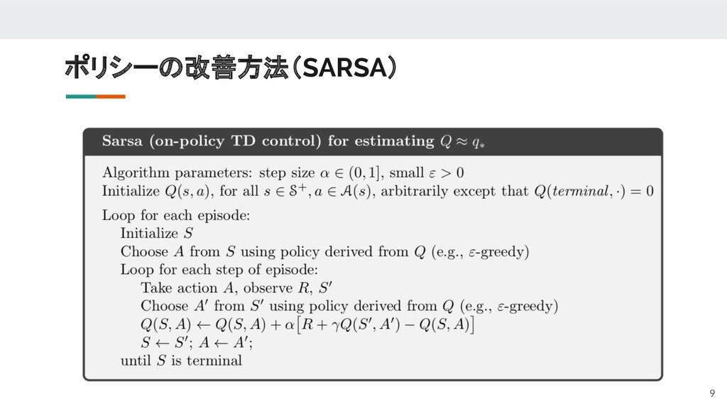 ポリシーの改善方法(SARSA) 9