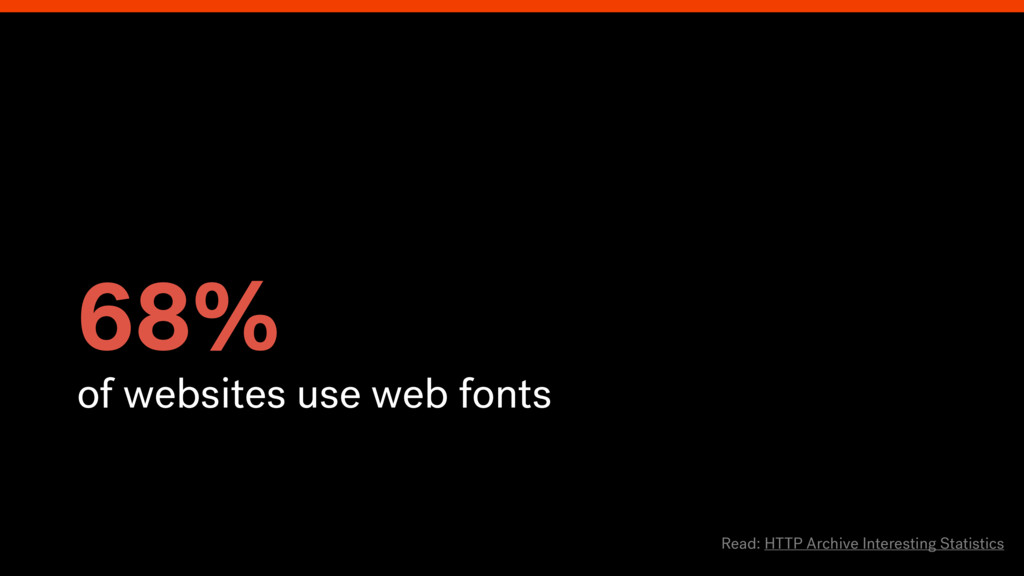 68% of websites use web fonts Read: HTTP Archiv...