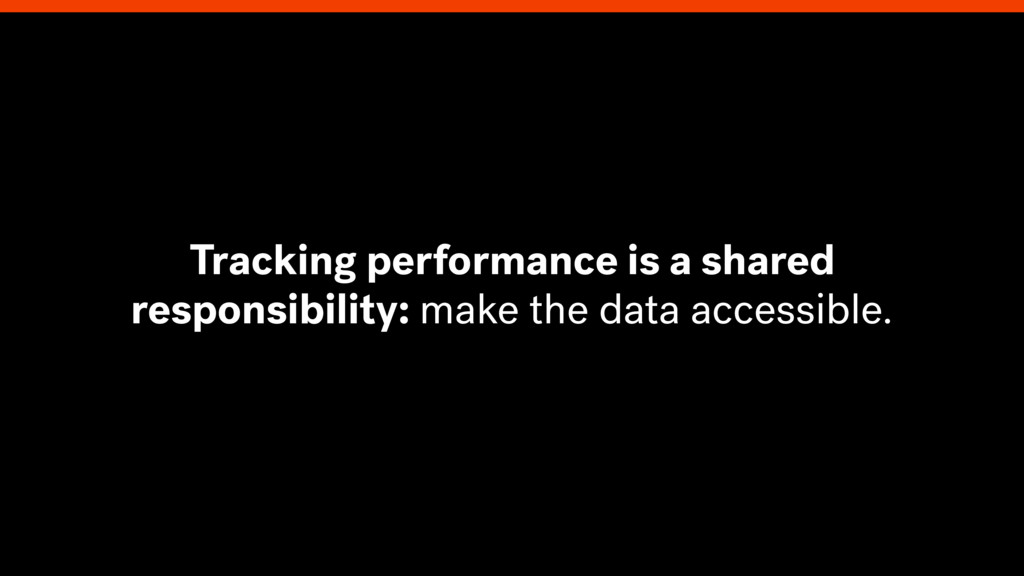 Tracking performance is a shared responsibility...