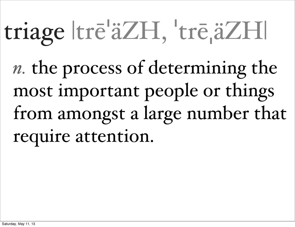 triage |trēˈäZH, ˈtrēˌäZH| n. the process of de...