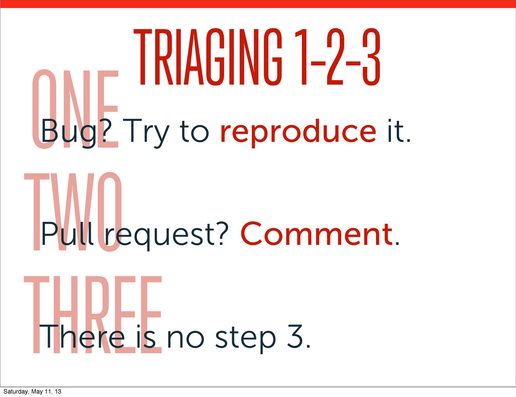 TRIAGING 1-2-3 ONE Bug? Try to reproduce it. TW...