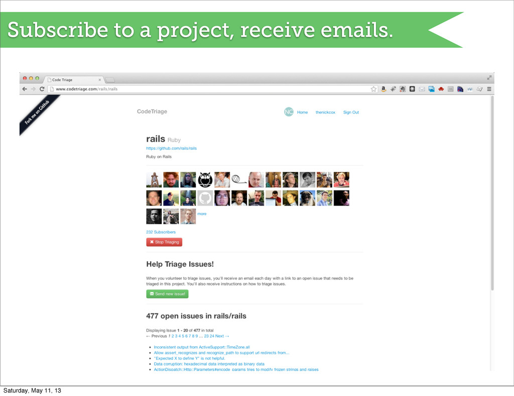 Subscribe to a project, receive emails. Saturda...