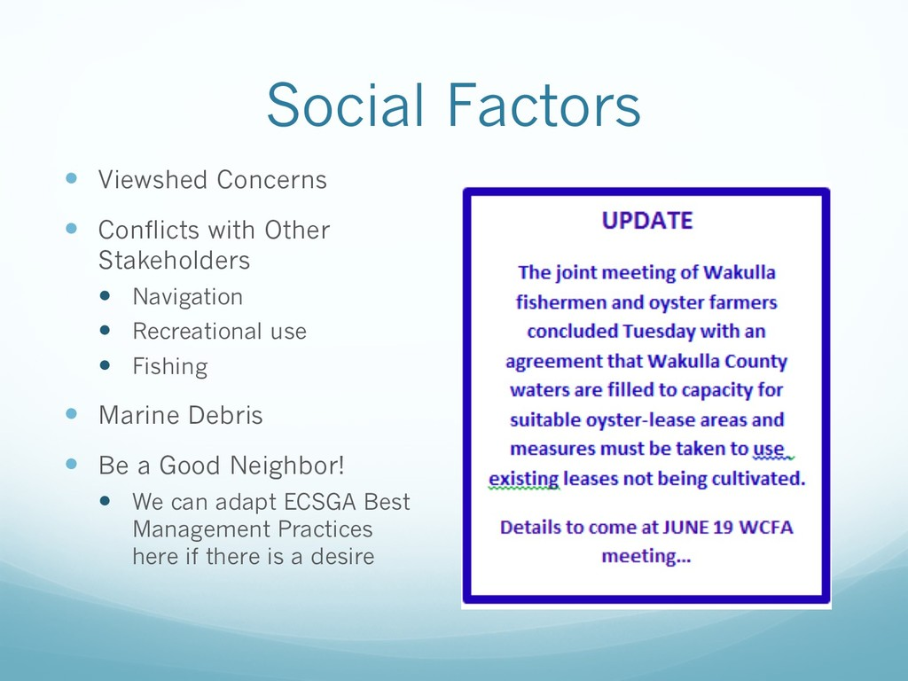 Social Factors — Viewshed Concerns — Conflicts ...