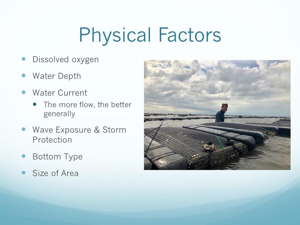 Physical Factors — Dissolved oxygen — Water Dep...