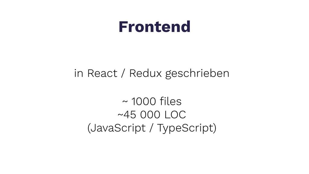 in React / Redux geschrieben Frontend ~ 1000 fil...