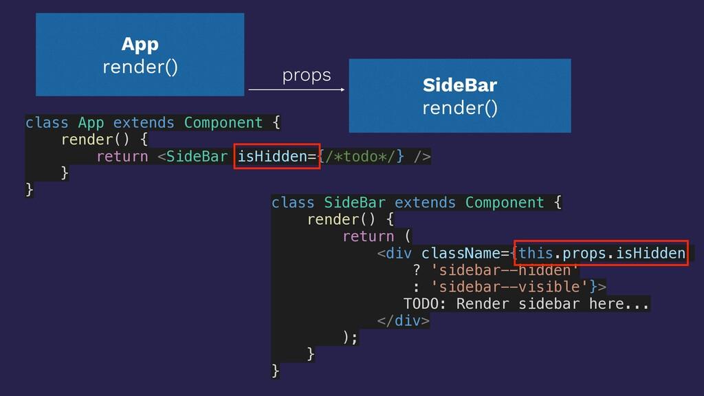 SideBar render() props App render() class App e...