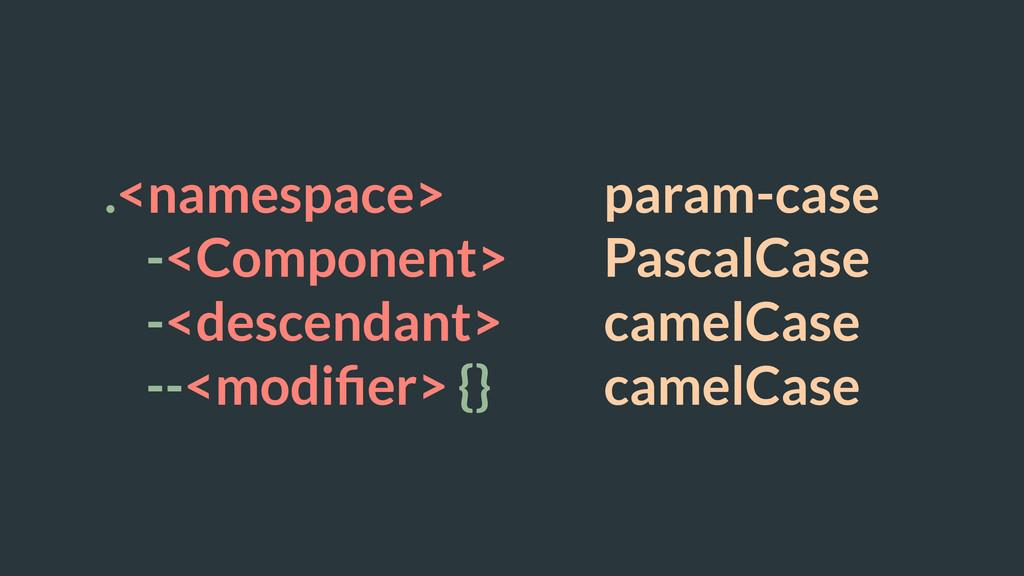 .<namespace> param-case -<Component> PascalCase...