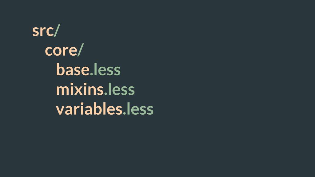 src/ core/ base.less mixins.less variables.less...