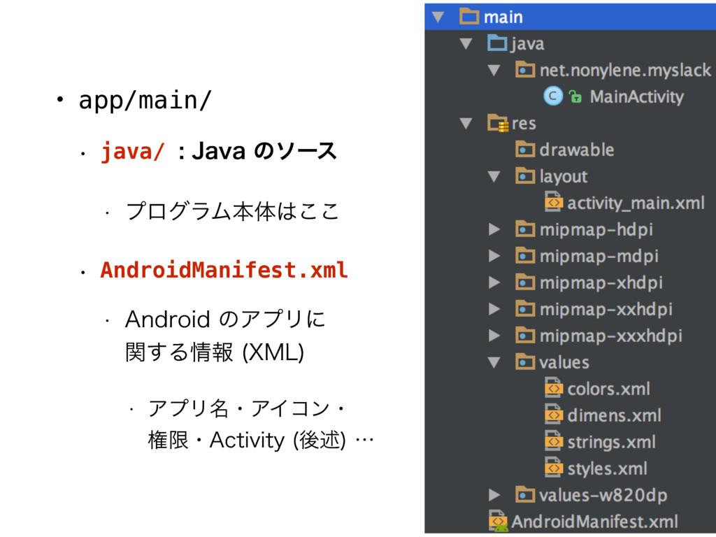 • app/main/ w java/ +BWBͷιʔε w ϓϩάϥϜຊମ͜͜ ...