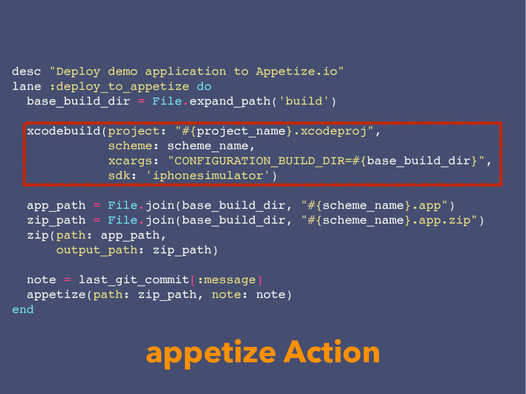 "desc ""Deploy demo application to Appetize.io"" l..."