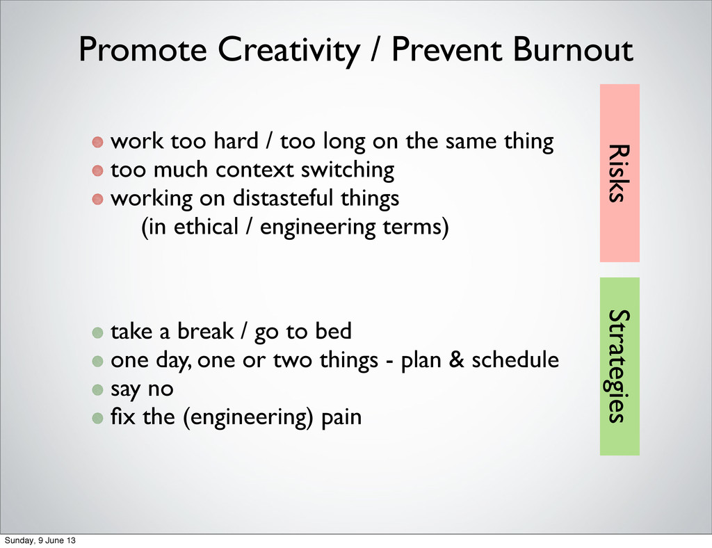 Promote Creativity / Prevent Burnout work too h...