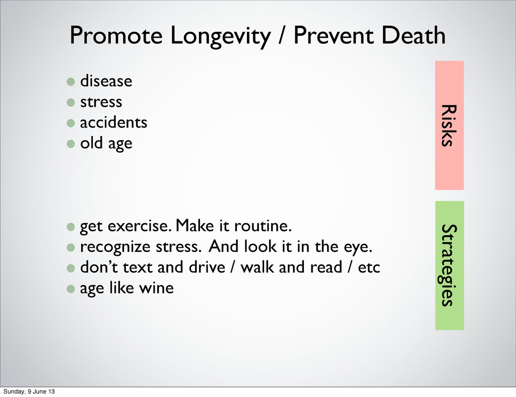 disease stress accidents old age get exercise. ...