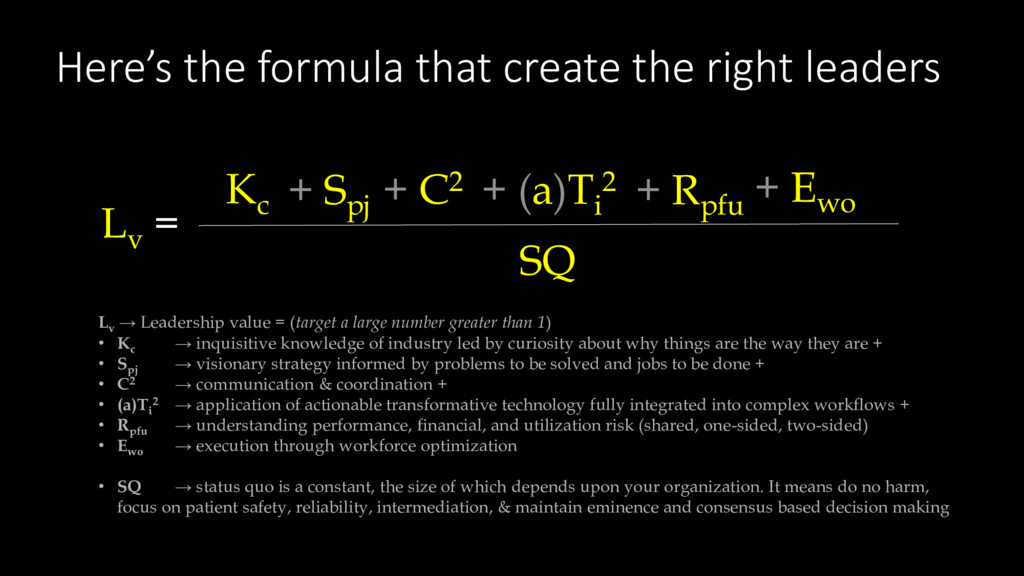 Here's the formula that create the right leader...