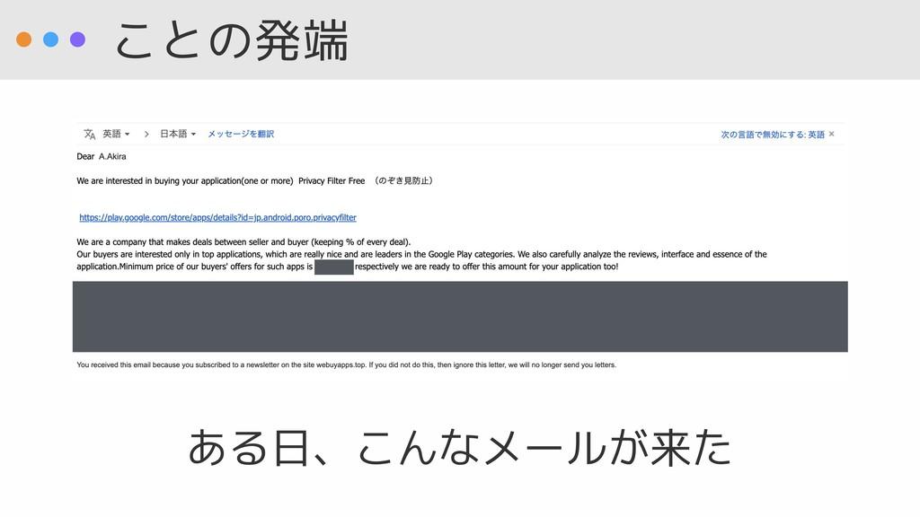 ことの発端 ある日、こんなメールが来た