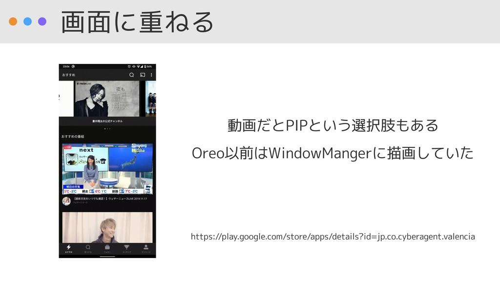 画面に重ねる 動画だとPIPという選択肢もある Oreo以前はWindowMangerに描画し...