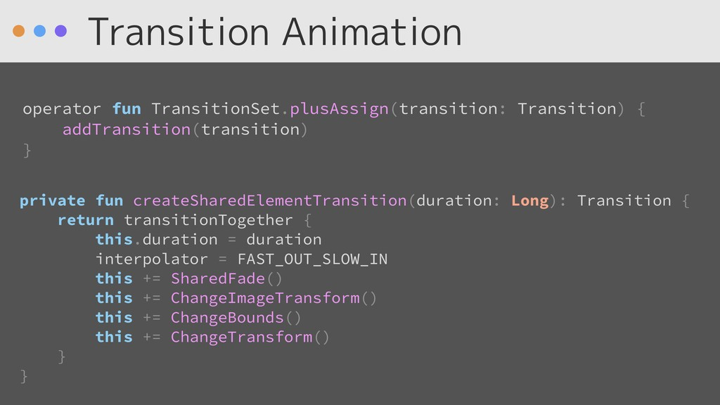 Transition Animation private fun createSharedEl...