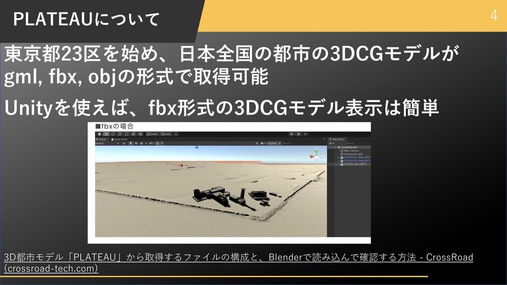 4 PLATEAUについて 東京都23区を始め、⽇本全国の都市の3DCGモデルが gml, f...