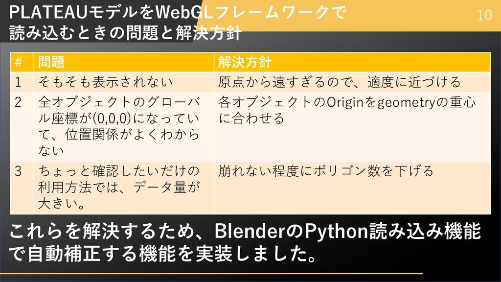 10 PLATEAUモデルをWebGLフレームワークで 読み込むときの問題と解決⽅針 # 問題...