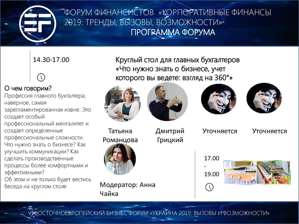 17.00 - 19.00 VI ВОСТОЧНОЕВРОПЕЙСКИЙ БИЗНЕС ФОР...