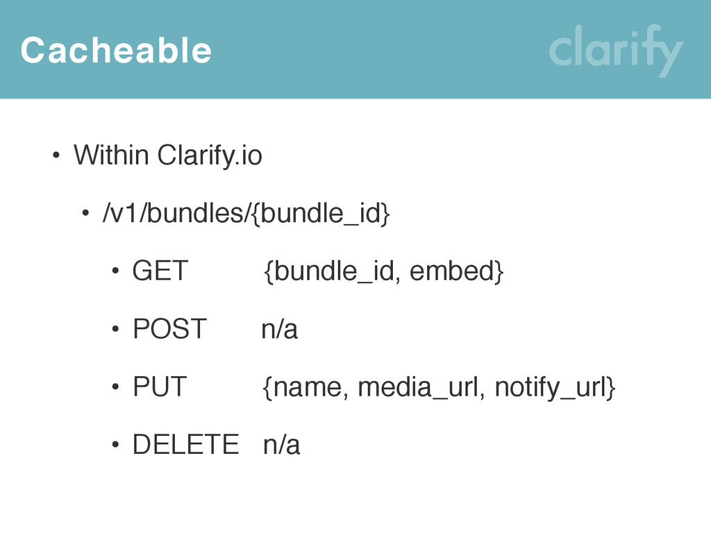 Cacheable • Within Clarify.io • /v1/bundles/{bu...
