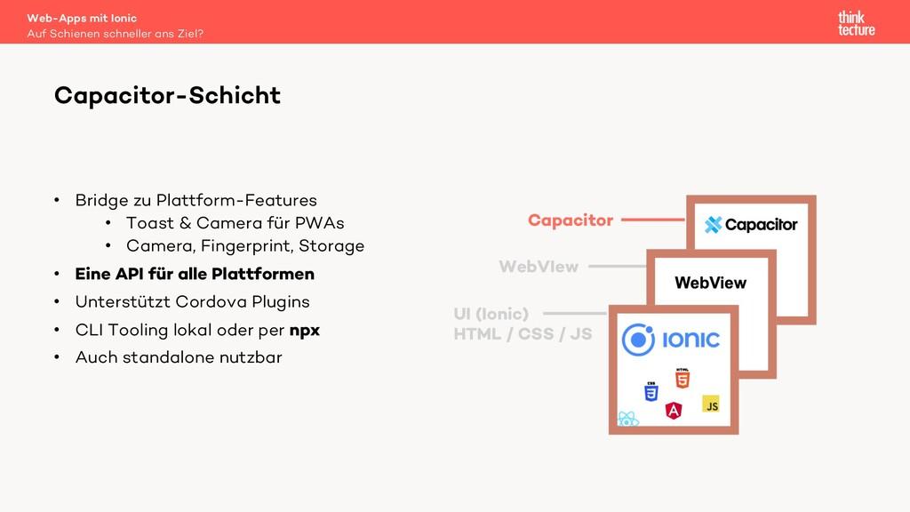• Bridge zu Plattform-Features • Toast & Camera...