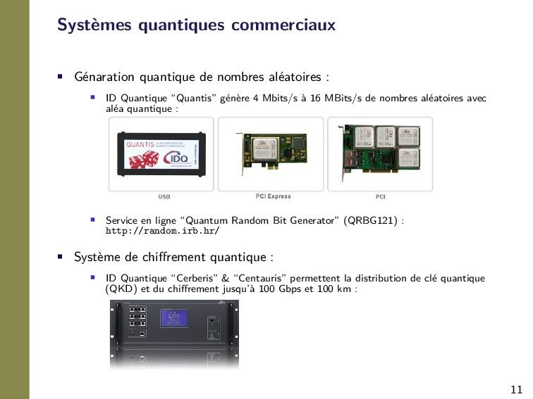 11 Systèmes quantiques commerciaux • Génaration...