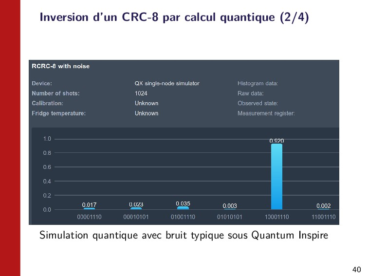 40 Inversion d'un CRC-8 par calcul quantique (2...