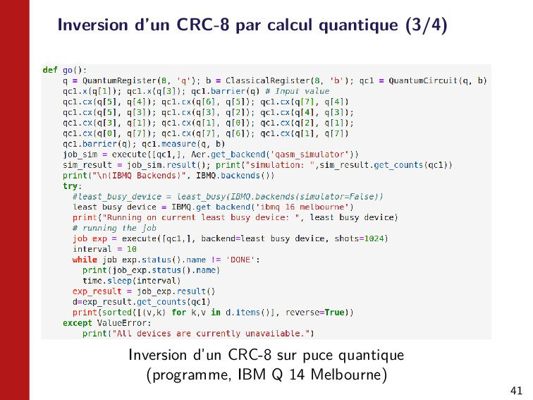 41 Inversion d'un CRC-8 par calcul quantique (3...