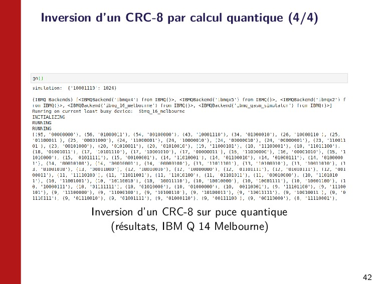 42 Inversion d'un CRC-8 par calcul quantique (4...