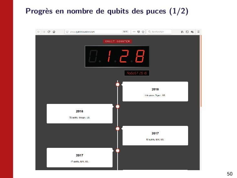 50 Progrès en nombre de qubits des puces (1/2)