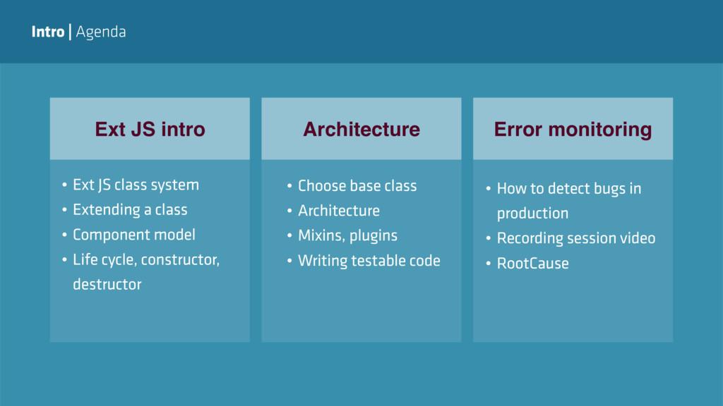 Intro   Agenda Ext JS intro Architecture Error ...