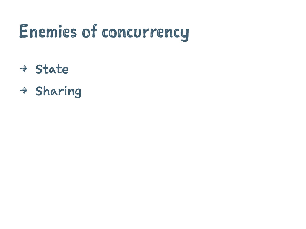 Enemies of concurrency 4 State 4 Sharing