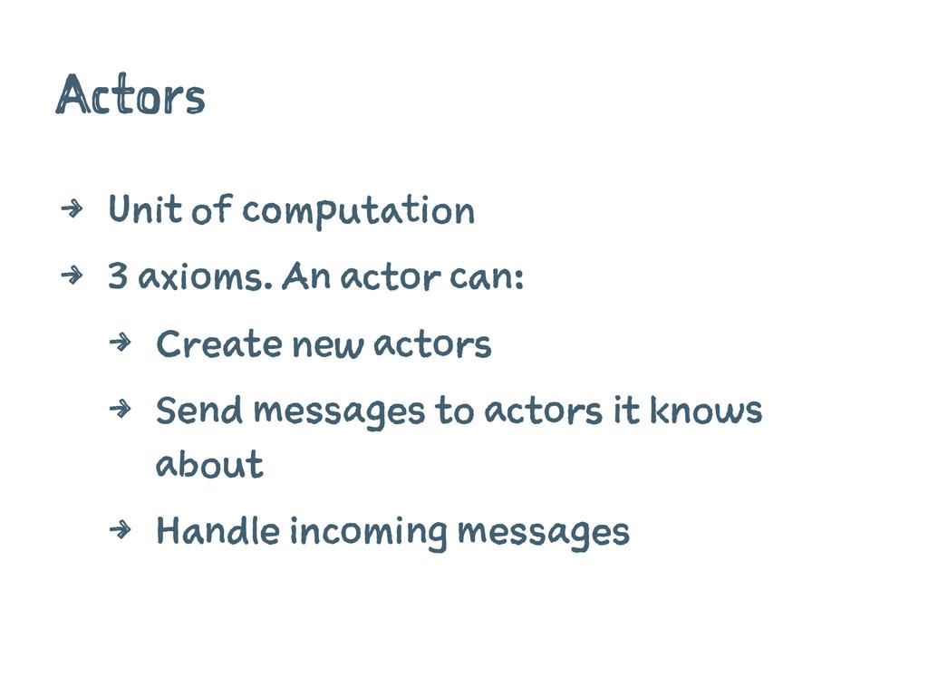 Actors 4 Unit of computation 4 3 axioms. An act...