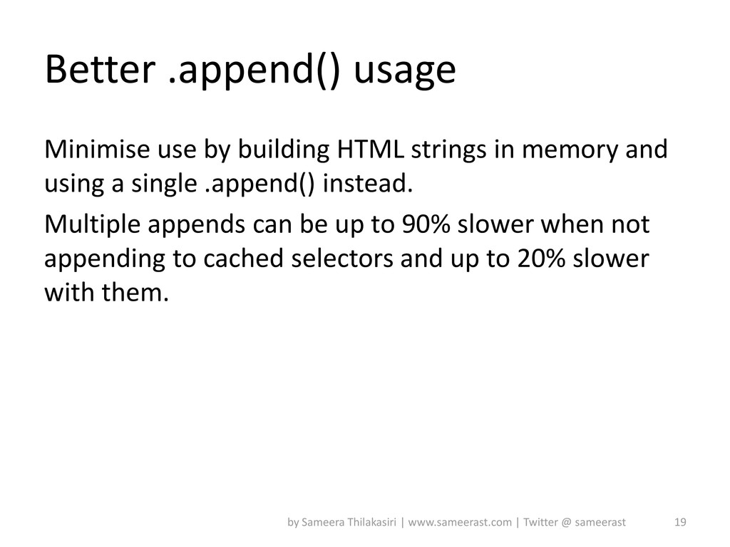 Better .append() usage Minimise use by building...